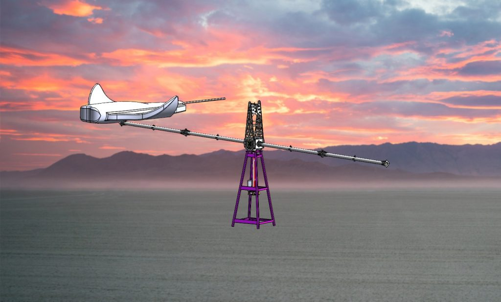 CAD image of ray on-Playa with sunset background